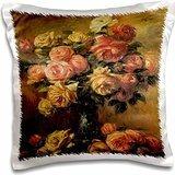 BLN Flower Paintings Fine Art Collection - Les Roses dans un Vase by Pierre-Auguste Renoir Flower Still Life - 16x16 inch Pillow