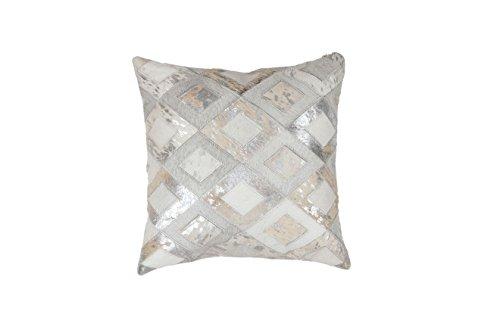 Sofa-Kissen Dekokissen modern Design Couch Spark Pillow 110 Rauten Muster Leder 45x45 cm Grau/ Zierkissen günstig online kaufen