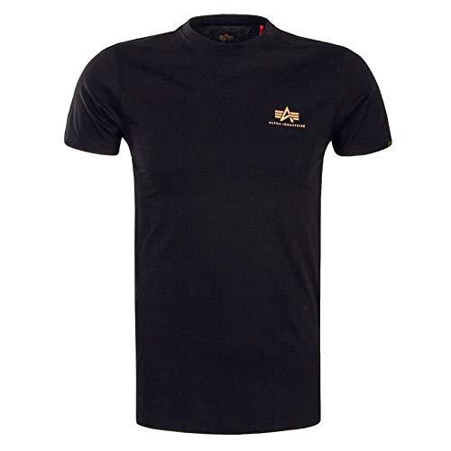 Alpha Industries T-Shirt Basic T Small Logo schwarz weiß blau grün rot Olive rot gelb braun grau (L, Black/Gold)