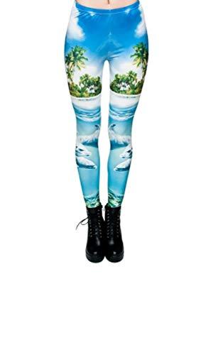 Hanessa Frauen Leggins Blau Türkis Bedruckte Leggings Hose Frühling Sommer Kleidung Delphine Strand Delfine L5