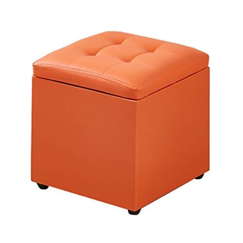 YFF-Hocker Orange PU-Kunstleder-Speicher-Schemel, das Raum-praktischen gepolsterten Schemel-Schemel-Schemel-einzelnen Ottoman-Sitz, Max.150KG spart