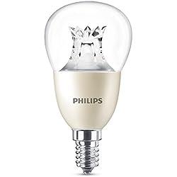 Philips Ampoule LED Sphérique Culot E14, 8W équivalent 60W, Blanc Chaud 2700K, Claire, Compatible Variateur