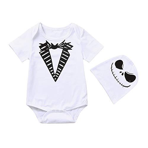 WQIANGHZI Baby - Kurzarm Halloween Devil - Baby Body Kurzarm Jungen Mädchen One Piece Kleidung + Hut Set