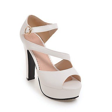 LvYuan Sandali-Formale Casual Serata e festa-Club Shoes-Quadrato-Finta pelle-Nero Giallo Bianco Grigio White