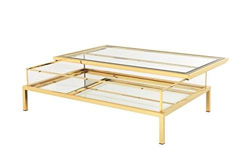 Casa Padrino Luxus Art Deco Designer Couchtisch Gold 140 x 85 x H. 41 cm - Wohnzimmer Salon Tisch - Designer Tisch Möbel