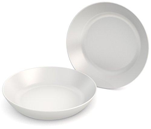 Ornamin Lot de 2 Assiettes Creuses Ø 15 cm Blanc Mélamine (modèle 415)