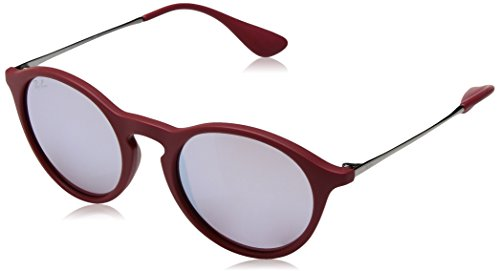 Ray-Ban RAYBAN Unisex-Erwachsene Sonnenbrille 4243 Rubber Bordo/Bordolightflashgrey, 49