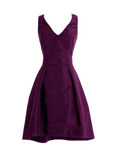 Dresstells, A-ligne robe courte de demoiselle d'honneur satin sans manches, robe de cocktail col en V Raisin