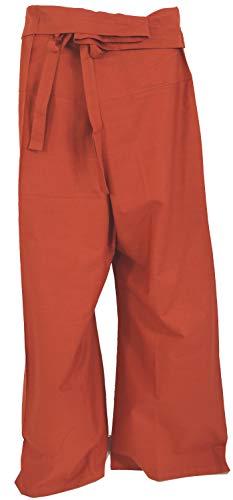 Guru-Shop Thai-Baumwoll-Fischerhose, Wickelhose, Yogahose, Herren/Damen, Rostrot, Baumwolle, Size:One Size, Fischerhosen Normale Größe Alternative Bekleidung