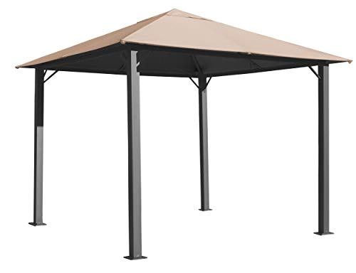 QUICK STAR Metall Garten Pavillon Paris 3x3m Antik Sand Partyzelt