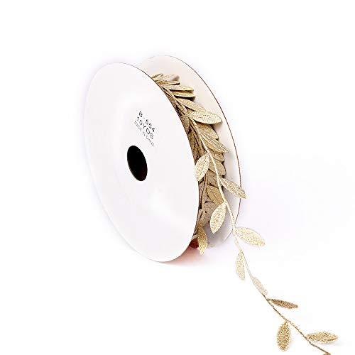 10 Yard DIY Blätter Blatt Trimmen Band Bänder Serviette Ringe Blätter Girlande DIY Kunst Nähen Hochzeit Party Baby Dusche Dekoration (Gold)