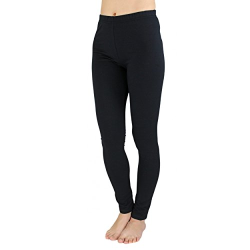 Alkato Damen Leggings Lang Blickdicht Baumwolle, Farbe: Schwarz, Größe: 42