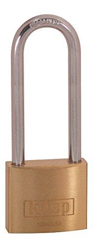 Kasp Vorhängeschloss, Messing, 40 x 63 mm, hoher Bügel, Serie 120, gold, K12040L63D