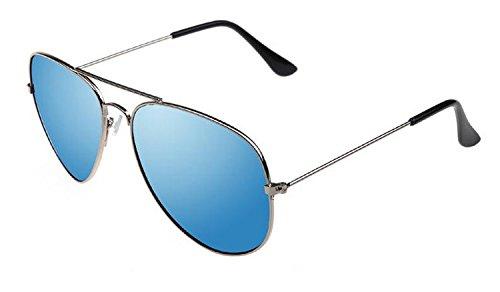 Liroyal Piloten-Sonnenbrille, klassisch, Vintage, Metallrahmen, Brillen, Fledermaus-Spiegel, UV-Schutz, Mehrfarbig, hellblau