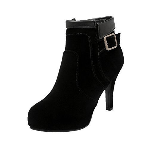 Mee Shoes Damen warm gefüttert Reißverschluss innen Plateau Stiefel Schwarz