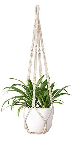 Mkouo Blumenampel Makramee Pflanzenhalter Makramee Hänger Cotton Pflanzhänger Blumenhänger Topfhänger Blumentopfhänger 89cm, 4 Beine