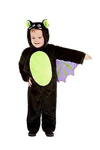 Smiffys 61129T2 - Disfraz de murciélago para niños (unisex, para niños de 3 a 4 años), color negro