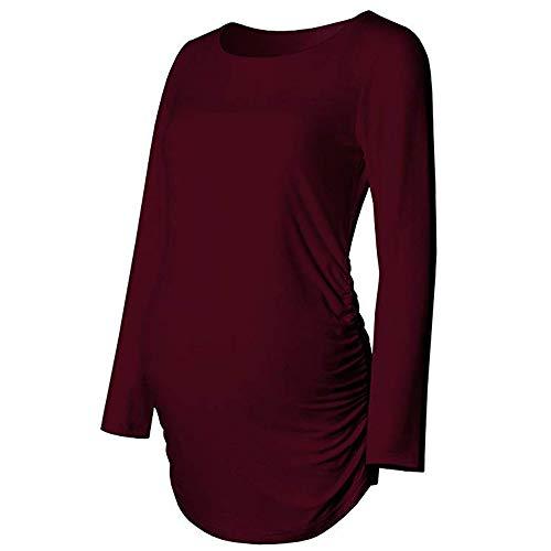 Schwangerschaft Warm T-Shirt Quaan, Frau solide Basic über Lange Ärmel Mutterschaft Känguru Bluse Beiläufig Klassisch Einfach Retro Sport Weich Gemütlich Baumwolle Hemd