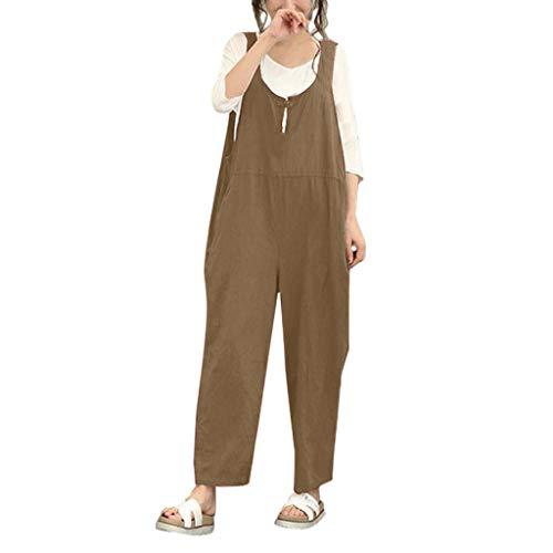 AMUSTER Damen Retro Latzhose Lässig Insgesamt Baggy Taschen Lange Harem Playsuit Hose Jumpsuits Overalls (Hosen Harem Halloween)