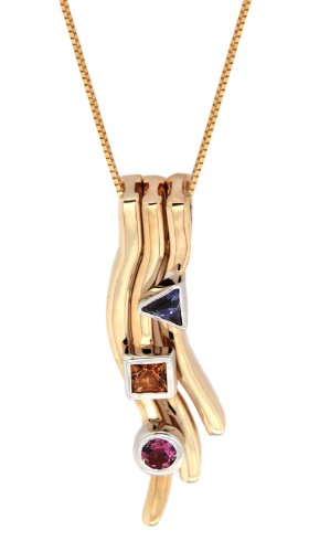 """Carissima Gold 9ct Yellow Gold Pink Tourmaline, Iolite and Citrine Pendant on Adjustable Curb Chain Necklace of 40cm/16""""-46cm/18"""""""