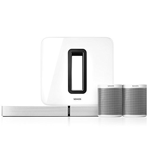 Sonos 5.1 Heimkino Set, System mit einer Playbase, einem SUB und einem Paar PLAY:1 (Weiß)