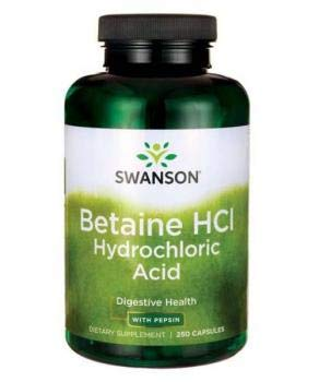 Swanson Betaine HCl Hydrochloric Acid, with Pepsin, 250 Capsules