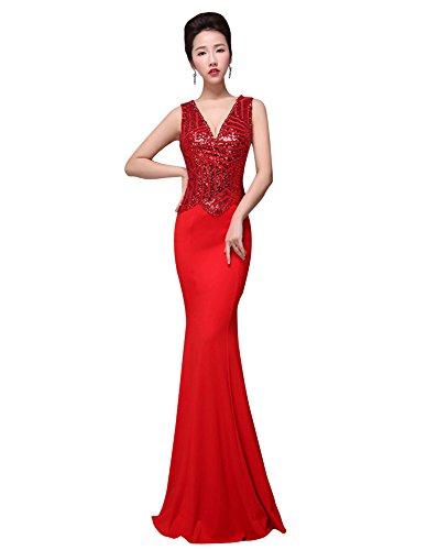Beauty-Emily Abito senza maniche profondo scollo a V Paillettes Stripes Prom Rosso
