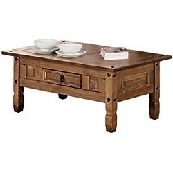 Mesa De Centro Rustica En Color Nogal estilo clásico con cajón