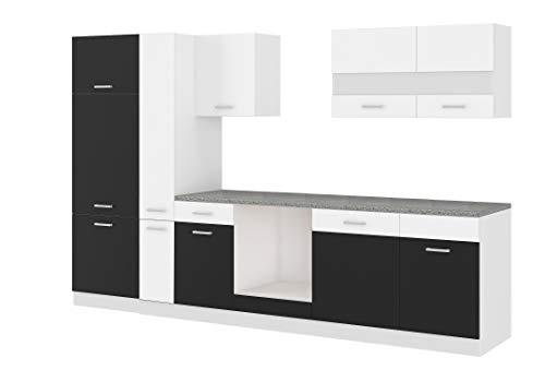 Küche CORA I 310 Küchenzeile Küchenblock Einbauküche Weiss Schwarz