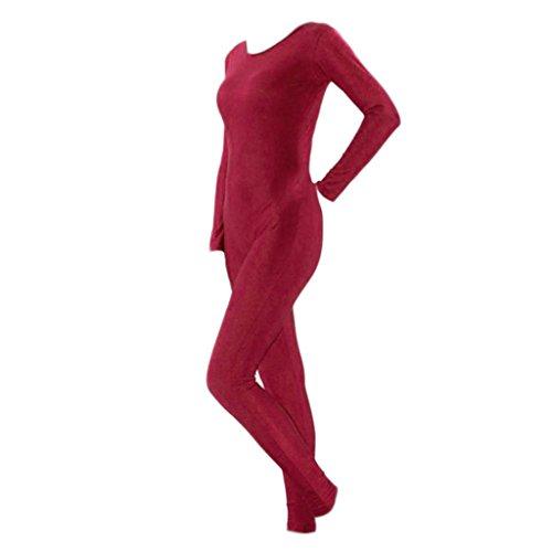 Fenteer Herren Damen Ganzkörperanzug Bodysuit Base Layer Einteiliger Anzug Kostüm Catsuit Overall Jumpsuit Ganzanzug - Wein S