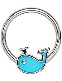 0a647c8e5038 Blue Palm Jewelry 1 Pieza-Calibre 16 3 8 Pulgadas 316L Acero quirúrgico  Azul Ballena Snap-en cautivo Anillo de…