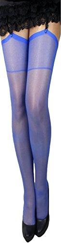 2 Paar klassische elastische Strapsstrümpfe alle Farben zum Anstrapsen Strapse Strümpfe 20 den (royalblau)