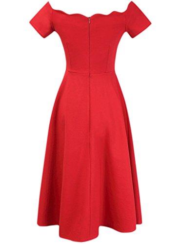 ASVOGUE Women's Vintage Scalloped Off Shoulder A-line Dress Red
