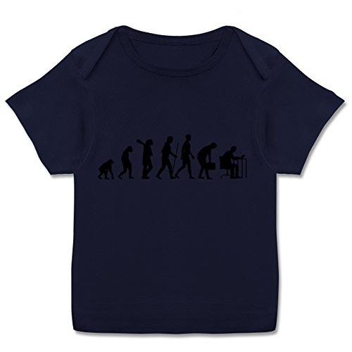 Evolution Baby - Computer Evolution - 56-62 (2-3 Monate) - Navy Blau - E110B - Kurzarm Baby-Shirt für Jungen und Mädchen in verschiedenen Farben