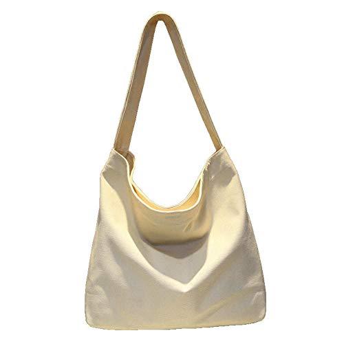 SHOUTIBAOBAO Handtasche Leinwand,Lässige Mode Wiederverwendbare Canvas Schultertasche Reine Farbe Große Kapazität Reisen Frauen Shopping Bag Messenger Tasche Handtasche -