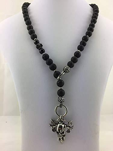 2in1 Halskette Y-Kette Rosenkranz Perlenkette Black-Edition Lava Onyx schwarz matt, sehr massiv mit SKULL Totenkopf Kreuz Schmuck für Rocker Männer Herren Gothic Thors Hammer Anhänger K70