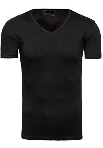 BOLF T-Shirt Herren Unifarben Classic Kurzarm Slim J. STYLE 2007 Basic Party Schwarz