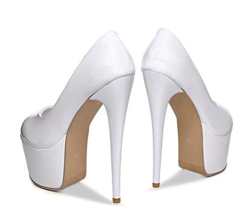 YE Damen Extreme High Heels Lackleder Stilettos Geschlossen Pumps mit Plateau 16cm Absatz Paty Schuhe Weiß