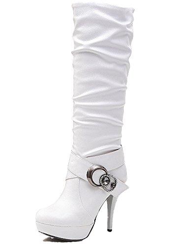 Minetom Damen Wasserdichte Stiefel Mit Hohen Absätzen Fein Martin Stiefel Elegant Langschaftstiefel Strasssteine Gürtelschnalle Schuhe Weiß EU 39 (Knöchel Lace-up Boot Hoch)