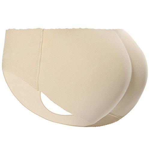 PushUp Höschen Padded Seamless Bauchsteuerung Unterwäsche für Frauen (EU Size S/Tag mit M, Beige)