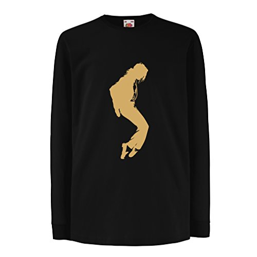 Kinder-T-Shirt mit langen Ärmeln Ich liebe MJ - Fanclub Kleidung, Konzert Kleidung (5-6 years Schwarz Gold)
