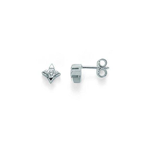 Orecchini Miluna punto luce con Diamanti Naturali 0.10ct in oro bianco 9kt ERD1590