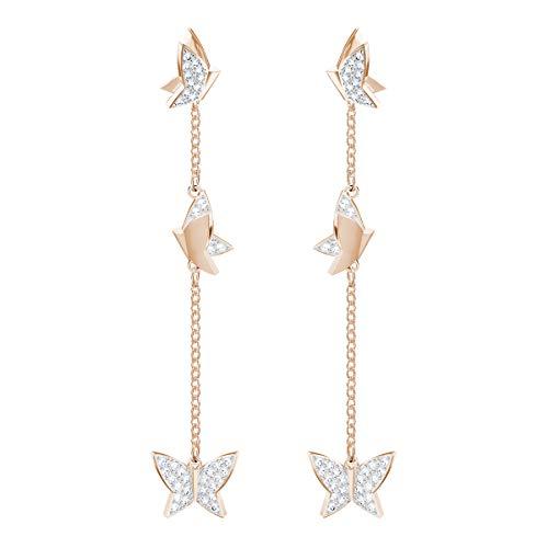 Swarovski orecchini lilia, cristallo bianco, placcati nella tonalità oro rosa, da donna