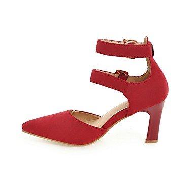 LvYuan Da donna Sandali Finta pelle Estate Fibbia Quadrato Nero Grigio Giallo Rosso Verde 7,5 - 9,5 cm ruby