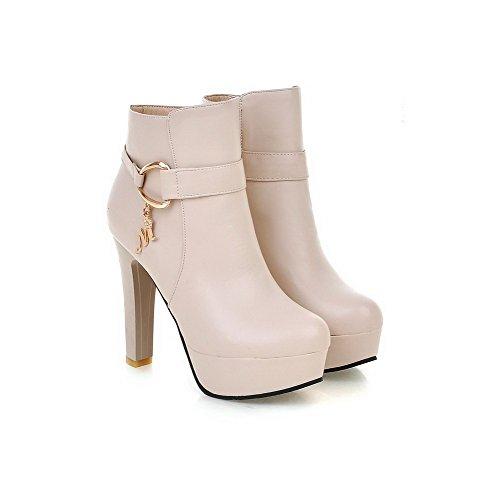 VogueZone009 Donna Cerniera Luccichio Tacco Alto Bassa Altezza Stivali con Metallo Beige
