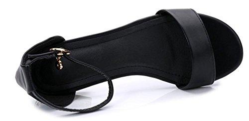 Été sandales femmes parole boucle rude avec des chaussures ouvertes diamant sandales plates Black Leather