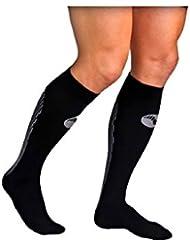 Medilast D320NB - Calcetines de running unisex, color negro/blanco, talla XL