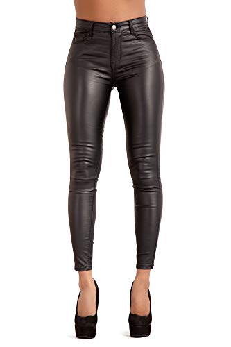 fd12ae215ea534 Glook Womens Black Leather Look Trousers High Waist Slim Fit Skinny Butt  Lifting Jeans (UK