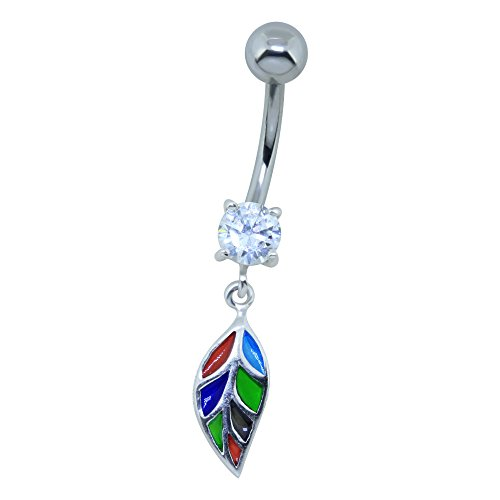 sterling-silver-belly-button-bar-with-colourful-leaf-vitrage-dangle-8mm
