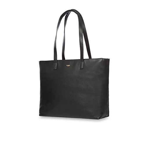 "Knomo 120-204-BLK""Maddox"" Leather Zip Tote Bag for 15-Inch Laptop - Black"